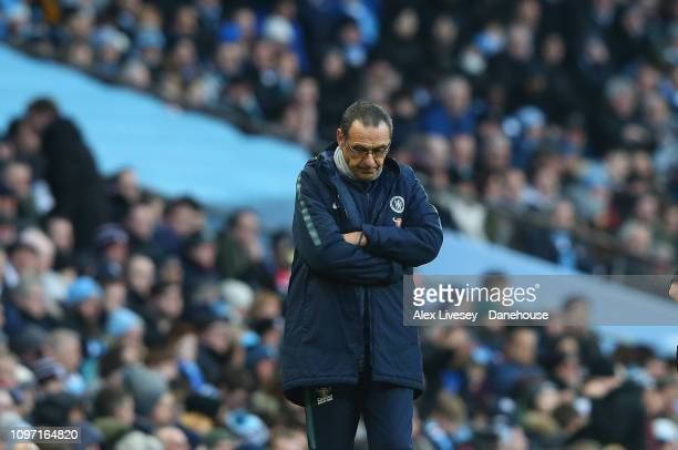 Maurizio Sarri the manager of Chelsea looks dejected during the Premier League match between Manchester City and Chelsea FC at Etihad Stadium on...