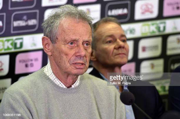 Maurizio Zamparini and Clive Richardson answer questions during a press conference at Stadio Renzo Barbera on December 4, 2018 in Palermo, Italy.