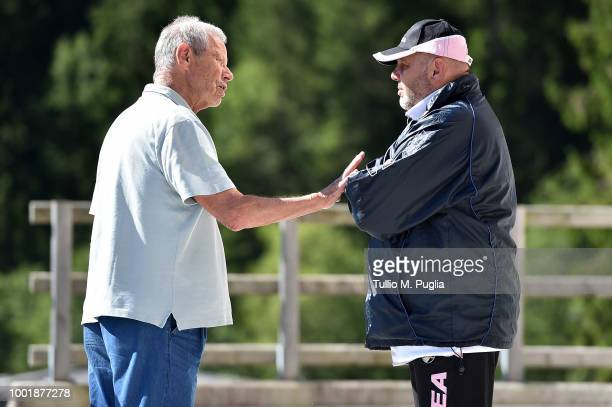 Maurizio Zamparini and head coach Bruno Tedino look on during a training session at the US Citta' di Palermo training camp on July 19, 2018 in...