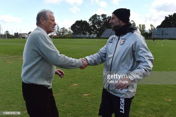 Maurizio Zamparini and head coach Roberto Stellone shake hands at Tenente Carmelo Onorato Sports Center on December 4, 2018 in Palermo, Italy.