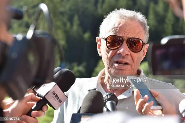 Maurizio Zamparini answers questions during a press conference at the US Citta' di Palermo training camp on July 19, 2018 in Belluno, Italy.