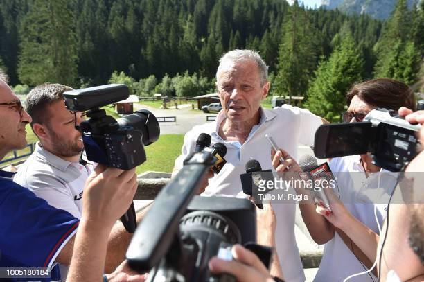 Maurizio Zamparini answers questions during a press conference at the US Citta' di Palermo training camp on July 25, 2018 in Belluno, Italy.