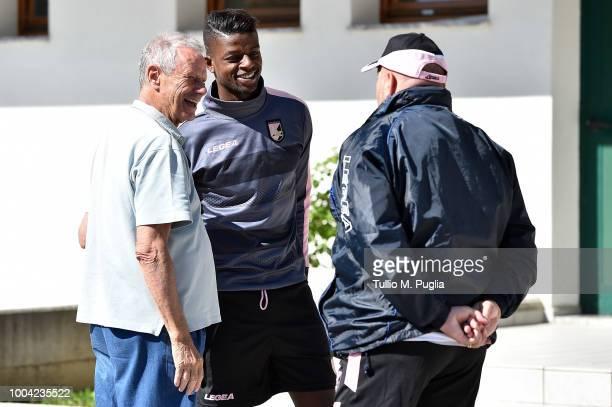 Maurizio Zamparini, Eddy Gnahore and head coach Bruno Tedino look on during a training session at the US Citta' di Palermo training camp on July 19,...