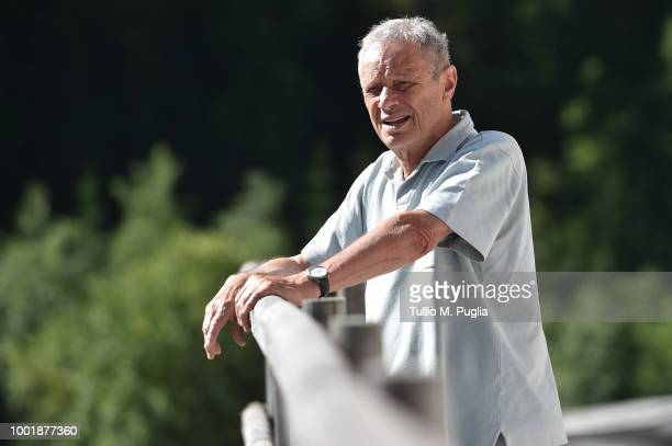 Maurizio Zamparini looks on during a training session at the US Citta' di Palermo training camp on July 19, 2018 in Belluno, Italy.