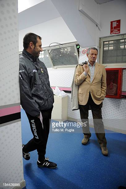 Maurizio Zamparini President of Palermo and Coach Devis Mangia talk in the dressing room before a Palermo training session, at Stadio Renzo Barbera...