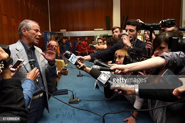 Maurizio Zamparini, President of US Citta di Palermo, answers questions during a press conferenze at Palermo University on May 22, 2015 in Palermo,...