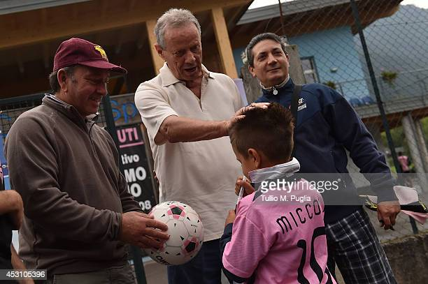 Maurizio Zamparini, President of US Citta di Palermo, meets supporters ahead of a preseason friendly match against Brescia Calcio at Grille sport...