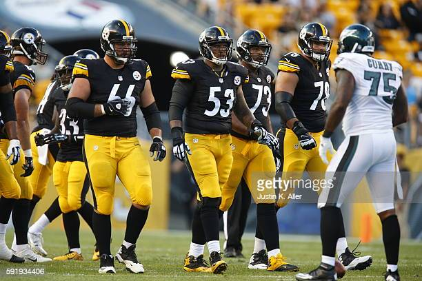 Maurkice Pouncey, David DeCastro, Ramon Foster and Alejandro Villanueva of the Pittsburgh Steelers in action during the game against the Philadelphia...