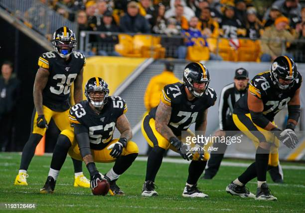 Maurkice Pouncey, Matt Feiler and Alejandro Villanueva of the Pittsburgh Steelers in action against the Los Angeles Rams on November 10, 2019 at...