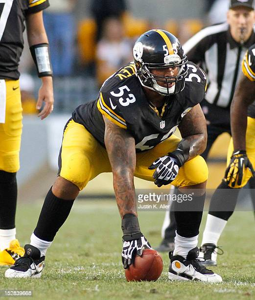 Maurkice Pouncey of the Pittsburgh Steelers blocks against the New York Jets during the game on September 16 2012 at Heinz Field in Pittsburgh...