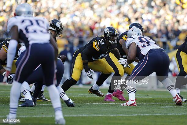 Maurkice Pouncey of the Pittsburgh Steelers in action against the New England Patriots at Heinz Field on October 23 2016 in Pittsburgh Pennsylvania
