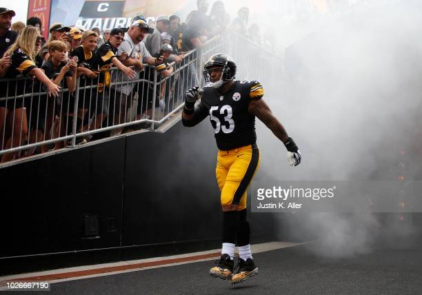 Maurkice Pouncey of the Pittsburgh Steelers in action against the Tennessee Titans during a preseason game on August 25, 2018 at Heinz Field in...