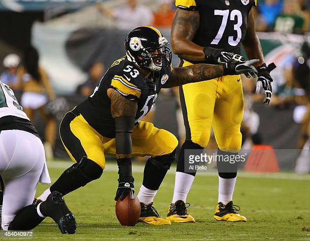 Maurkice Pouncey of the Pittsburgh Steelers in action against the Philadelphia Eagles during their Pre Season game at Lincoln Financial Field on...