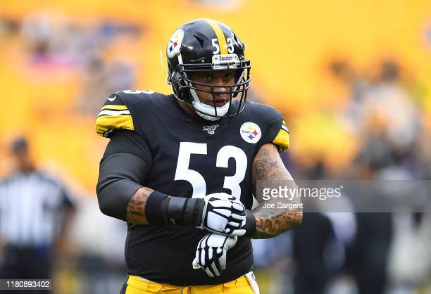 Maurkice Pouncey of the Pittsburgh Steelers in action during the game against the Baltimore Ravens at Heinz Field on October 6, 2019 in Pittsburgh,...