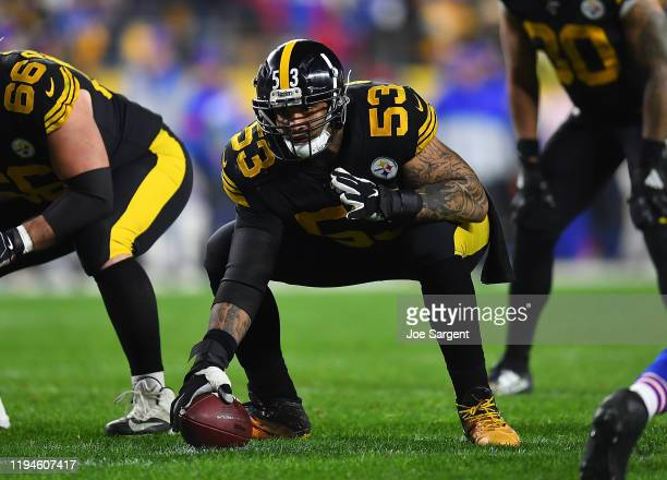 Maurkice Pouncey of the Pittsburgh Steelers in action during the game against the Buffalo Bills at Heinz Field on December 15, 2019 in Pittsburgh,...