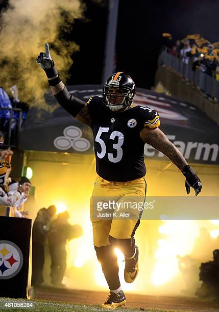 Maurkice Pouncey of the Pittsburgh Steelers is introduced during the Wild Card game against the Baltimore Ravens on January 3, 2015 at Heinz Field in...