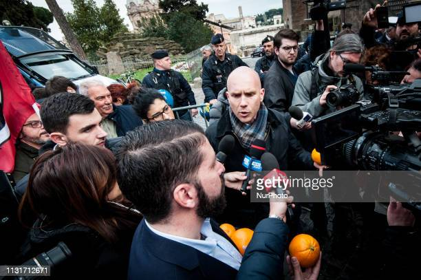 Mauro Antonini of farright movement CasaPound protest in Rome Italy on March 20 2019 demanding the resignation of Mayor of Rome Virginia Raggi after...