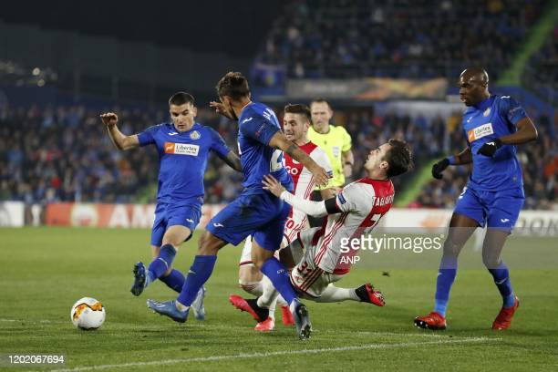 Mauro Arambarri of Getafe CF Damian Suarez of Getafe CF Dusan Tadic of Ajax Nico Tagliafico of Ajax Allan Nyom of Getafe CF during the UEFA Europa...