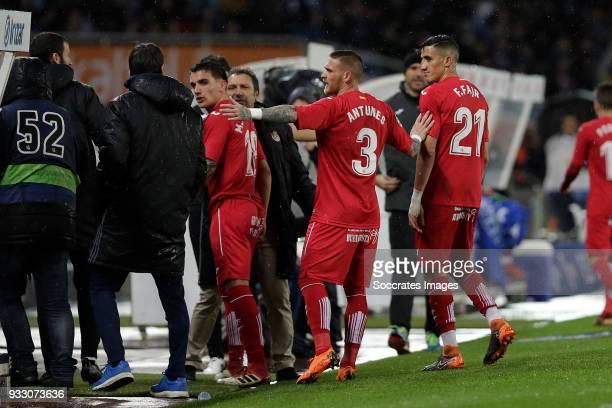 Mauro Arambarri of Getafe, Vitorino Antunes of Getafe, Faycal Fajr of Getafe during the La Liga Santander match between Real Sociedad v Getafe at the...
