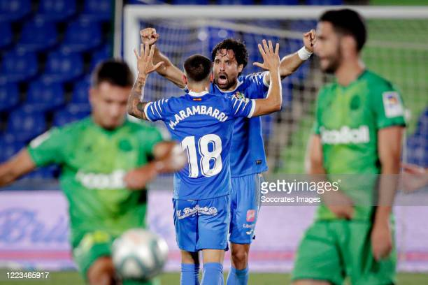 Mauro Arambarri of Getafe Xabier Etxeitia of Getafe celebrates the victory during the La Liga Santander match between Getafe v Real Sociedad at the...