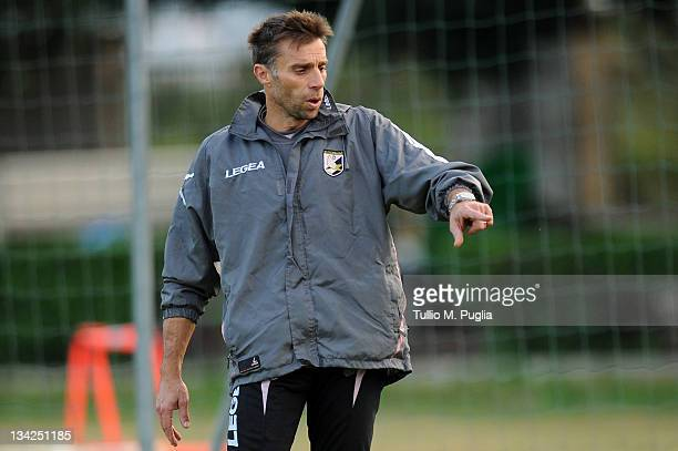 Mauro Bacchin Goalkeeper Coach of Palermo gestures during a Palermo training session at Tenente Carmelo Onorato Sports Center on November 29 2011 in...