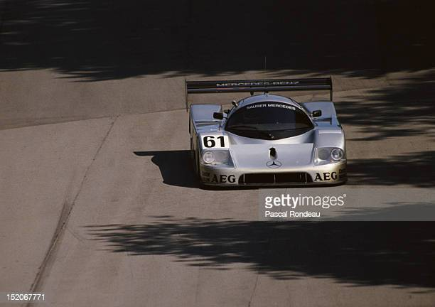 Mauro Baldi of Italy drives the Team SauberMercedes C9/88 during the FIA World Sportscar Prototype Championship 1000 kms of Brands Hatch on 23rd July...