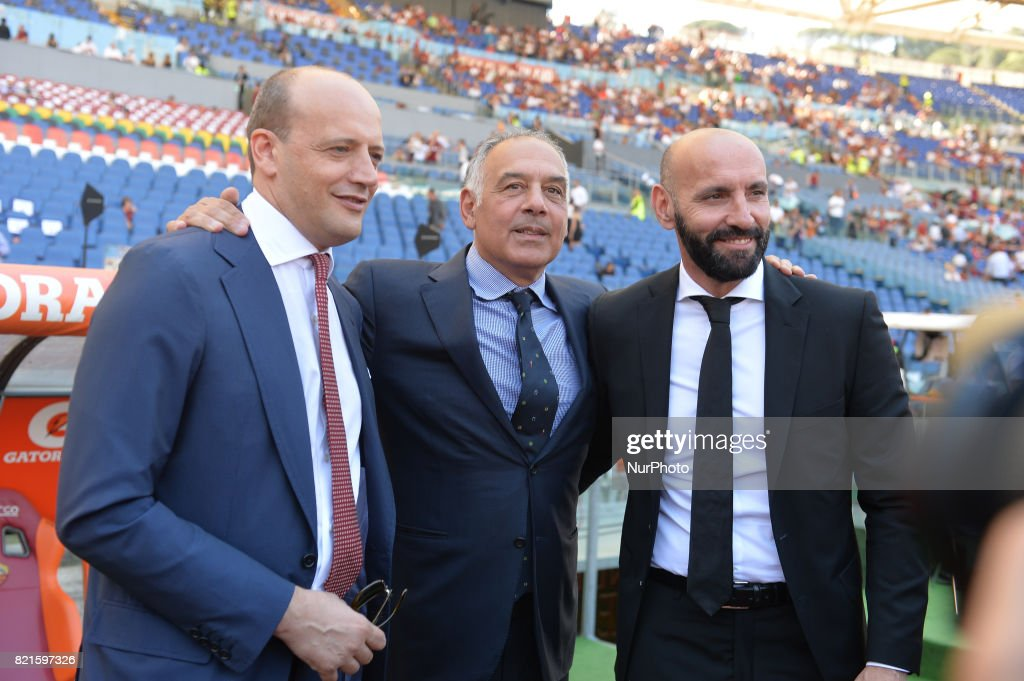 Mauro Baldissoni, Monchi, James Pallotta during the Italian Serie A football match between A.S. Roma and F.C. Genoa at the Olympic Stadium in Rome, on may 28, 2017.