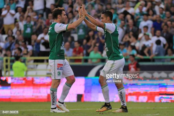 Mauro Boselli and Andres Andrade of Leon celebrate during the 9th round match between Leon and Pachuca as part of the Torneo Apertura 2017 Liga MX at...