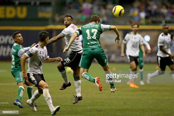 Mauro Boselli of Club Leon attempts a header in the second half against CF Pachuca at Miller Park on July 11 2018 in Milwaukee Wisconsin