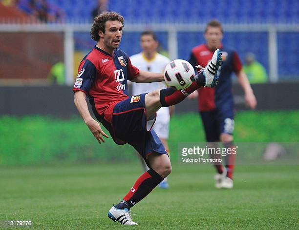 Mauro Boselli of Genoa CFC in action during the Serie A match between Genoa CFC and Lecce at Stadio Luigi Ferraris on April 23 2011 in Genoa Italy