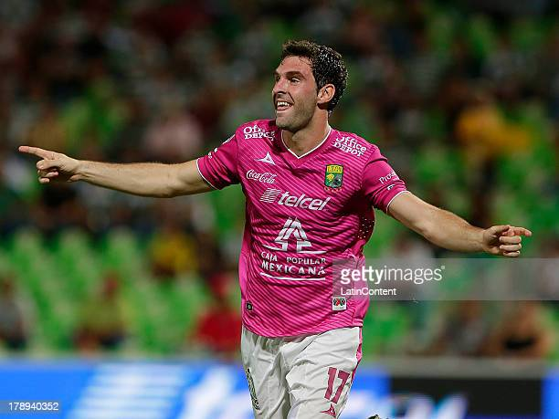 Mauro Boselli of Leon celebrates after scoring during a match between Santos and Leon as part of the Apertura 2013 Liga MX at Modelo stadium on...