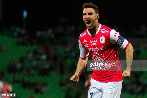 Mauro Boselli of Leon celebrates after scoring the first goal of his team during the 7th round match between Santos Laguna and Leon as part of the...