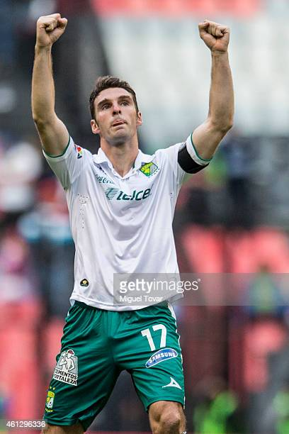 Mauro Boselli of Leon celebrates after scoring the second goal of his team during a match between America and Leon as part of 1st round Clausura 2015...