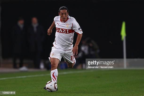 Mauro Camoraneis of Stuttgart runs with the ball during the UEFA Europa League group H match between VfB Stuttgart and Getafe CF at MercedesBenz...