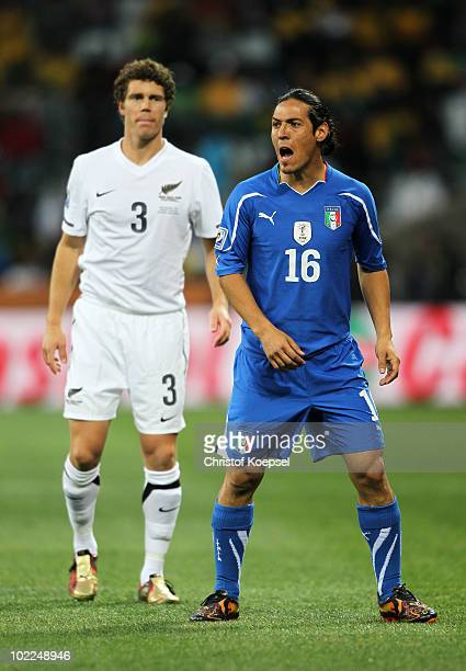 Mauro Camoranesi of Italy and Tony Lochhead of New Zealand in action during the 2010 FIFA World Cup South Africa Group F match between Italy and New...