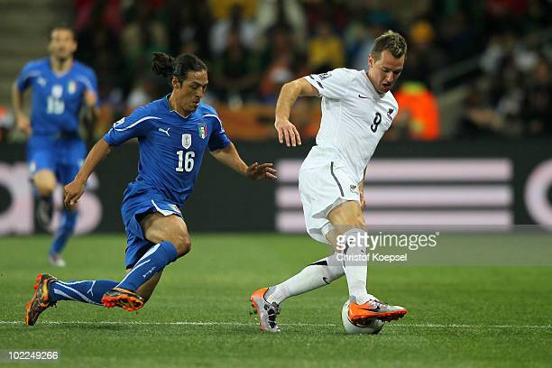Mauro Camoranesi of Italy closes down Shane Smeltz of New Zealand during the 2010 FIFA World Cup South Africa Group F match between Italy and New...