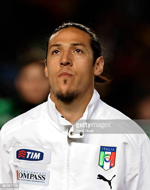 Mauro Camoranesi of Italy linesup before the start of the friendly International match between Spain and Italy at the Martinez Valero stadium on...