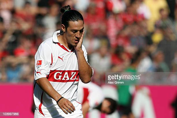 Mauro Camoranesi of Stuttgart reacts during the Bundesliga match between SC Freiburg and VfB Stuttgart at the Badenova Stadium on September 11 2010...