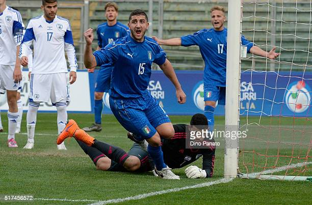 Mauro Cappolaro of Italy U19 celebrates after scoring his his team's fourth goal during the UEFA European U19 Championship Elite Round match Italy...