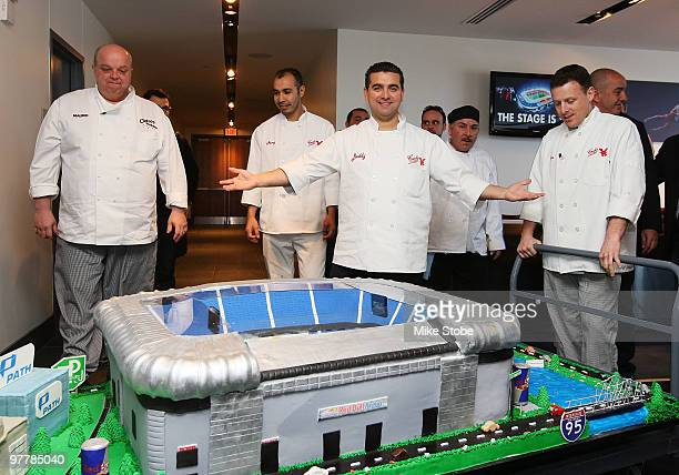 Mauro Castano Carlos Valastro Joe Faugno and Remy Gonzalez from TLC's tv program Cake Boss aapresent a cake in honor of the opening of Red Bull Arena...