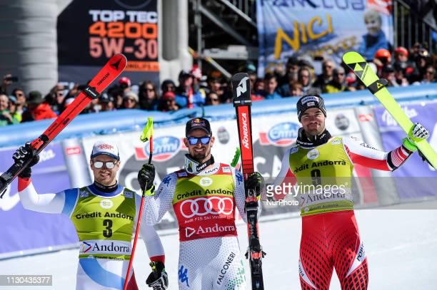 Mauro Caviezel Dominik Paris and Vincent Kriechmayr during Mens SuperG Audi FIS Ski World Cup podium on March 14 2019 in El Tarter Andorra