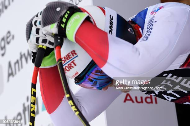 Mauro Caviezel of Switzerland at the start during the Audi FIS Alpine Ski World Cup Men's Downhill Training on January 10 2018 in Wengen Switzerland