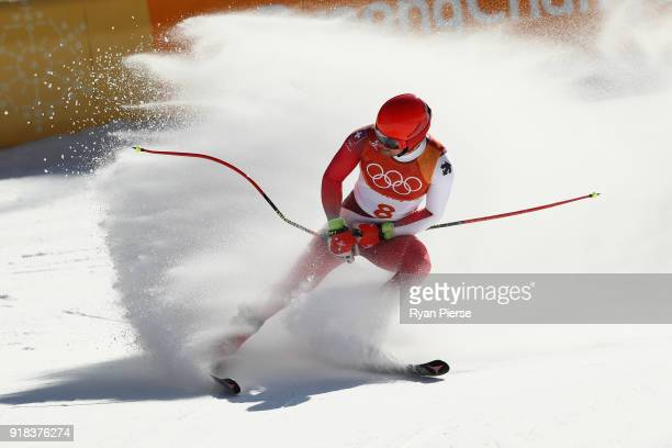 Mauro Caviezel of Switzerland celebrates a run during the Men's Downhill on day six of the PyeongChang 2018 Winter Olympic Games at Jeongseon Alpine...
