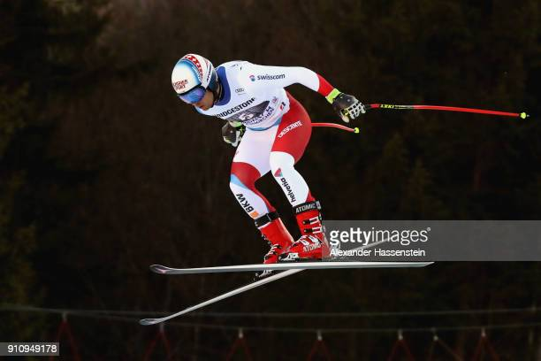 Mauro Caviezel of Switzerland competes at the Audi FIS Alpine Ski Men's Downhill World Cup at Kandahar race course on January 27 2018 in...