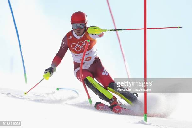 Mauro Caviezel of Switzerland competes during Men's Alpine Combined Slalom on day four of the PyeongChang 2018 Winter Olympic Games at Jeongseon...