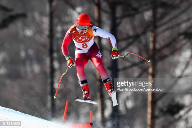 Mauro Caviezel of Switzerland competes during the Alpine Skiing Men's Downhill at Jeongseon Alpine Centre on February 15 2018 in Pyeongchanggun South...