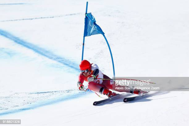 Mauro Caviezel of Switzerland competes during the Alpine Skiing Men's SuperG at Jeongseon Alpine Centre on February 16 2018 in Pyeongchanggun South...
