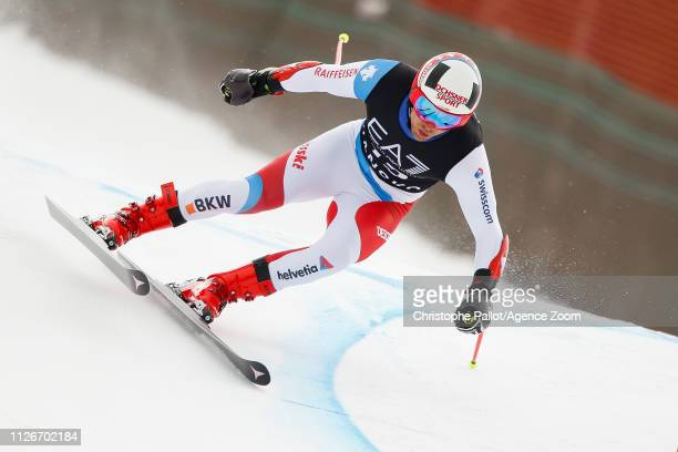 Mauro Caviezel of Switzerland competes during the Audi FIS Alpine Ski World Cup Men's Alpine Combined on February 22 2019 in Bansko Bulgaria