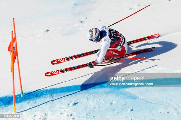 Mauro Caviezel of Switzerland competes during the Audi FIS Alpine Ski World Cup Men's Downhill on January 13 2018 in Wengen Switzerland