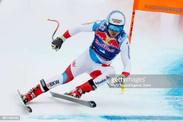 Mauro Caviezel of Switzerland competes during the Audi FIS Alpine Ski World Cup Men's Downhill on January 20 2018 in Kitzbuehel Austria